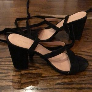Suede lace up heels, size 7